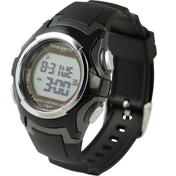 電波ソーラー(デュアルパワー) デジタル時計 タイムピース Time Piece TWP-001BK