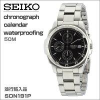 セイコーSEIKOクロノグラフメンズ腕時計SND191Pブラックフェイス