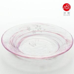 桜流し小皿【サクラ/さくら/和菓子/春/小皿/ガラス食器/津軽びいどろ/石塚硝子/アデリア】