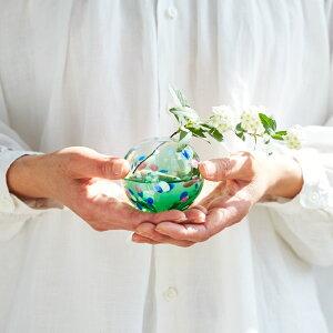 一輪挿しガラスおしゃれ【彩手鞠】ギフト和風ミニ花瓶小さな一輪差し一輪立てミニ花器小型プレゼントフラワーベースシンプル和室母の日日本製津軽びいどろアデリア誕生日石塚硝子