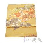 帯袋帯西陣高級袋帯となみ織物雲取唐花文ゴールド染色美術館フォーマル引箔新品未仕立日本製
