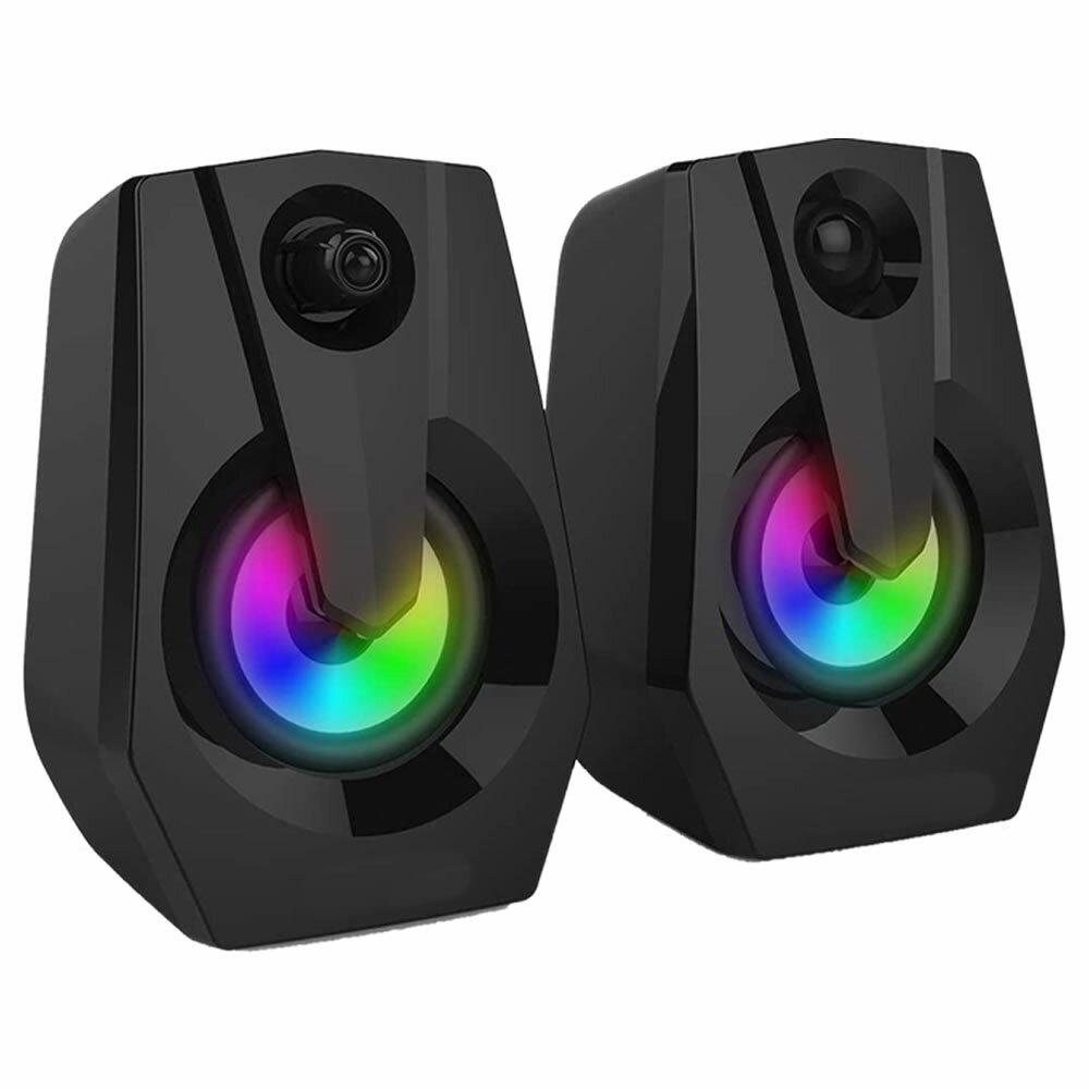 【送料無料】PCスピーカー USB電源 パソコンスピーカー 高音質 パソコン テレビ ゲーム PS4 省スペース LEDライト付き MULME