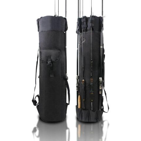 【送料無料】ロッドスタンドバッグ ブラック 釣り用 フィッシングバッグ カバン 大容量 ルアー 竿 収納 便利 鞄 軽量 多機能 頑丈 RODBBAG