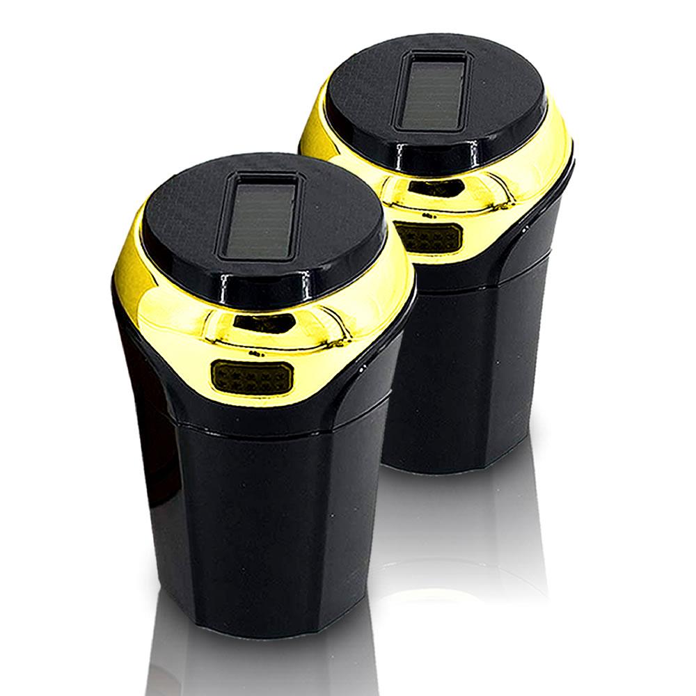 ソーラー式 LED灰皿 ゴールド 2個セット 車用 LED付 夜間に使う アウトドア用 エアアウトレットブラケット 車載 SOLAHAIZA-GD画像