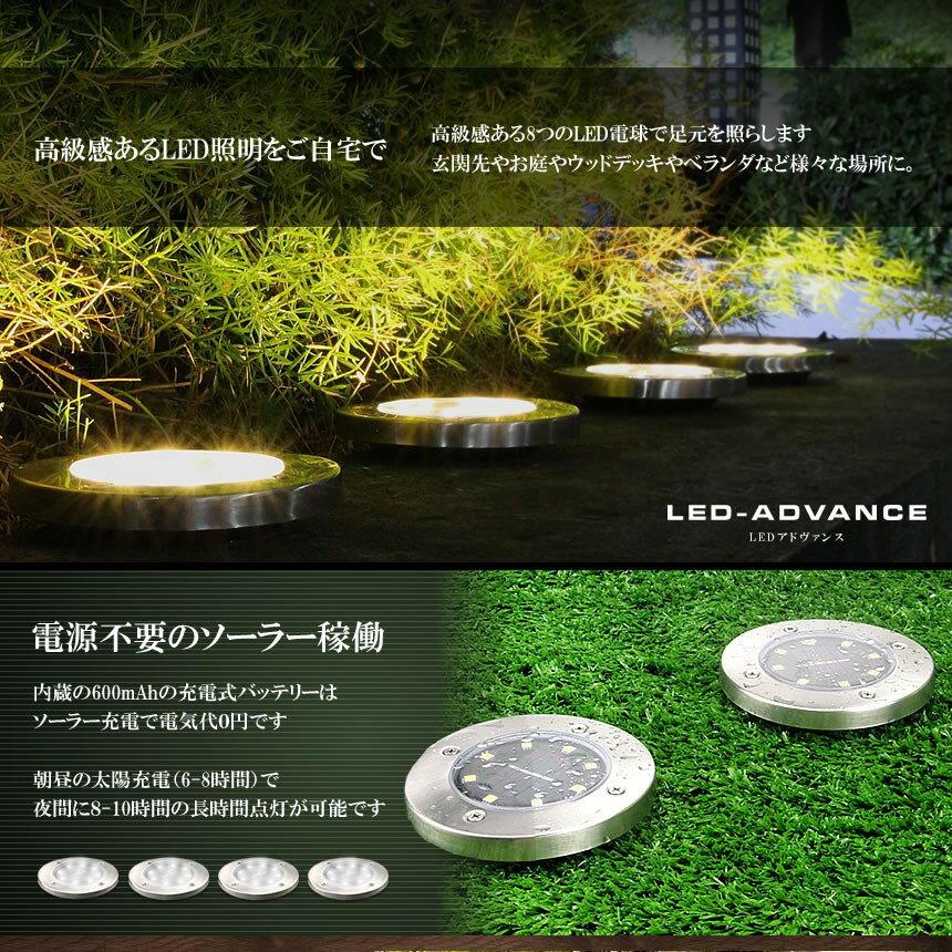 LEDアドヴァンス4台セット32LEDソーラー光センサー夜間自動点灯埋め込み式防水ライト防犯庭芝生4-LEADVAN