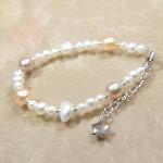 淡水真珠ブレスレットパステルカラーパール星パーツシルバー銀製スターバロックオレンジピンクパープル