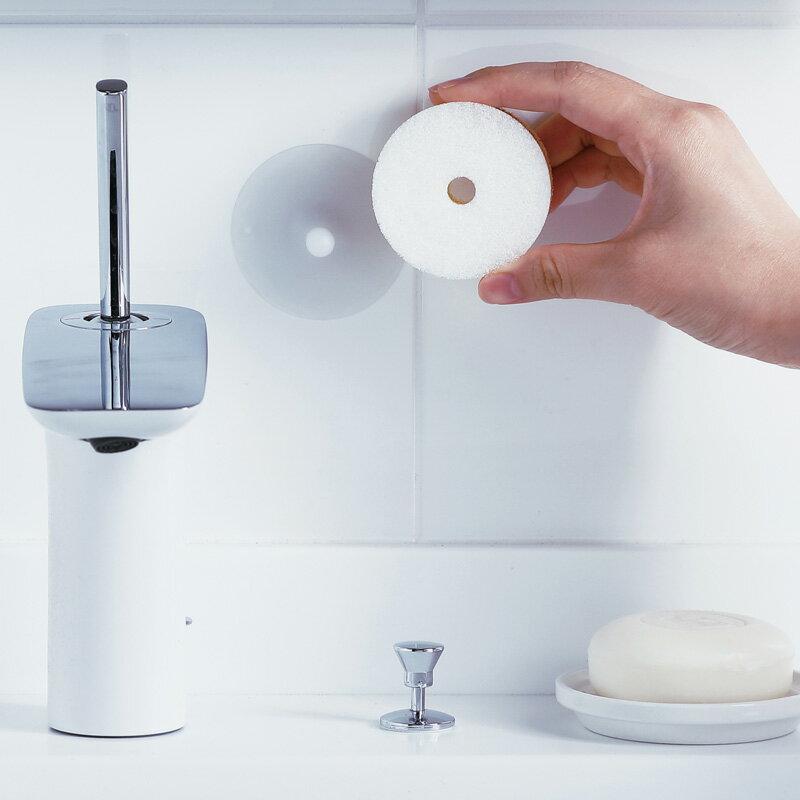 マーナ 洗面スポンジ POCO吸盤付き W615 グレー ホワイト 白【きれいに暮らす。】 キッチン 食器 食器用