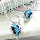 バタフライフープピアスczキュービックジルコニア輝くブルー蝶ピアス