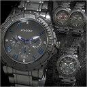 腕時計メンズメタルバンドアラビア文字盤ブラッククロノグラフデザイン合金ウォッチクォーツ生活防水ファッション