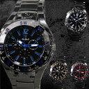 腕時計メンズメタルバンドクロノグラフ調デザインブラック合金ウォッチクォーツ生活防水ファッション