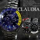 腕時計メンズブラックメタルメタルバンドクロノグラフ調デザイン合金ウォッチクォーツ生活防水