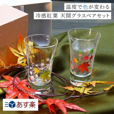 ペアグラス 丸モ高木陶器 冷感紅葉 グラス天開ペア 敬老の日 酒器 グラス 日本酒 冷酒 ペアセット お祝い ラッピング メッセージカード ギフト ペアギフト