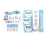 【50枚入り】日本製 息らくらく不織布マスク ふつうサイズ(50枚入)  ※おひとり様・ひと家族 1箱まで 【正規品】