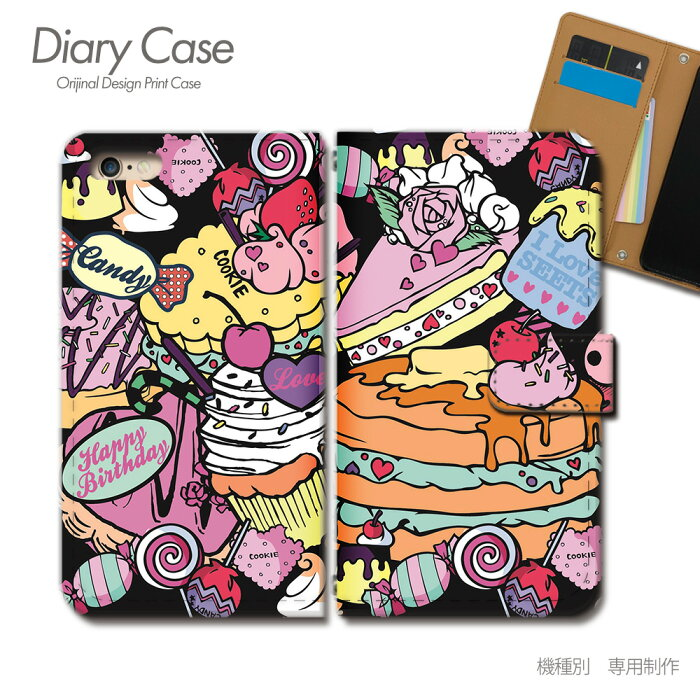 GALAXY S5 手帳型ケース SCL23 ガールズ スイーツ ケーキ パフェ スマホケース 手帳型 スマホカバー e018201_02 ギャラクシー ぎゃらくしー エス