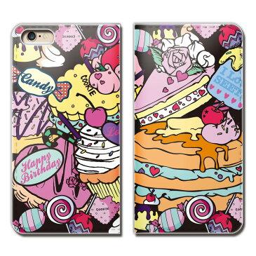 iPhone7 (4.7) iPhone7 ケース 手帳型 ベルトなし ガールズ スイーツ ケーキ パフェ スマホ カバー girls01 eb18201_02