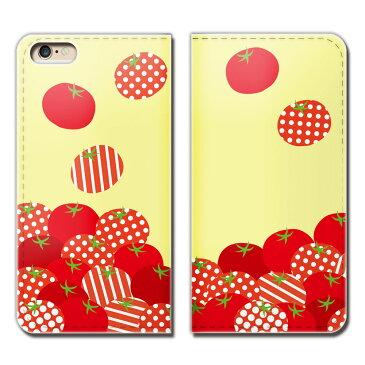iPhone X iPhoneX ケース 手帳型 ベルトなし TOMATO トマト ドット 水玉 柄 スマホ カバー 食べ物 フード eb25804_01