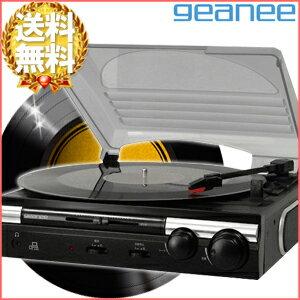 ジーニーgeaneePCリンク付レコードプレーヤー[TT-182NPC]LPEPアナログパソコンデジタル化レコードデジタルMP3USB音楽オーディオプレイヤースピーカー内蔵