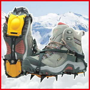 アイゼン10本爪(26cmまでの靴に対応)凍った路面滑り止め雪道トレッキング雪山山登り登山アウトドア