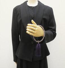 【10%割引クーポン配布中】数珠女性用念珠鐘貝共仕立紫色正絹花かがり房桐箱入り