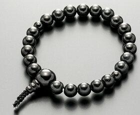 【10%割引クーポン配布中】数珠ブレスレット房付き腕輪念珠黒翡翠8mm共仕立て黒色ゴム4本組手首数珠桐箱入
