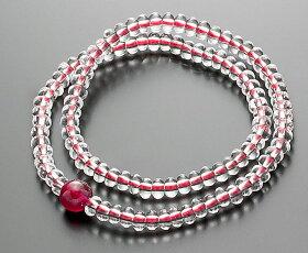 【10%割引クーポン配布中】腕輪数珠108玉数珠水晶みかん玉ルビー仕立2重巻き桐箱入