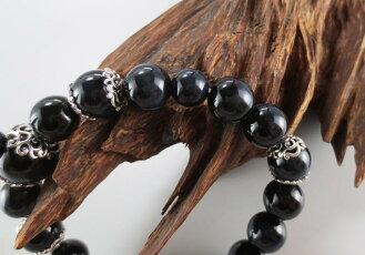数珠ブレスレット房付き腕輪念珠天然石ブルータイガーアイ12mm大玉シルバーデコルテ内径21cm手首数珠桐箱入