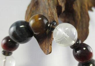 数珠ブレスレット水晶四神獣入虎眼石3色茶水晶御守り桐箱入