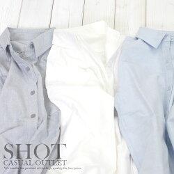 レディース/シャツ/無地/オックス/長袖/ホワイト/ブルー/グレー/秋/安い/shot/ショット