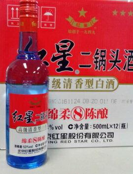 紅星 8年陳醸 二鍋頭酒(アルコードシュ)瓶 500mlX12本(1ケース売り)、53度!綿柔8年陳醸、日本初上陸、新商品♪