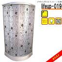 デザインガラスシャワーユニットlifeup-019 (モノトーン花柄)W900×D900×H2110