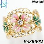 【SH52756】マリエラダイヤモンドリングK18イエローゴールド七宝エナメル花フラワー【中古】