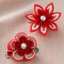 つまみ細工 お花のブローチ 赤|ちりめん手芸|ちりめんキット|つまみ細工キット|お花のブ...