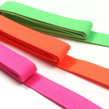 生地 コード・ひも Cotton Memory 蛍光色アクリルテープ 25mmX1.2M 【メール便可】|生地|副資材|カラーテープ|テープ|かばん|鞄|かばんテープ|鞄テープ|持ち手|持ち手テープ|ネオンカラーバッグテープ|日本国産|トーカイ