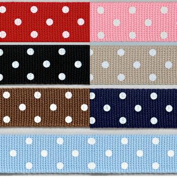 Cotton Memory ドットテープ 25mm巾×120cm|持ち手テープ カバンテープ 鞄テープ バッグ持ち手テープ レッスンバッグ シューズケース 靴袋 材料 ハンドメイド 手芸 水玉 幅2.5cm 巾2.5cm 幅25mm 25mm幅 アクリルテープ トーカイ