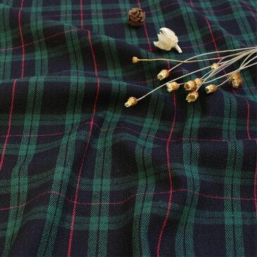 生地 綿布 ブラックウォッチ ツイル 17-2 【メール便可】|1m単位の切売り|布|コットン|綿|チェック|タータンチェック|緑|グリーン|入園|入学|通園|通学| トーカイ