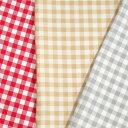 プディング チェック2 オックス(1m単位)|切売り 切り売り 生地 布 布地 プディング 赤 ベージュ グレー 灰色 入園 入学 女の子 男の子 シンプル カラーオックス