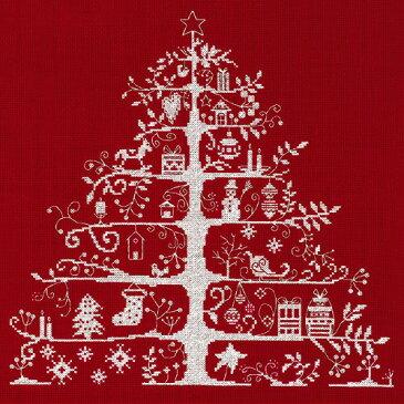 刺繍 DMC輸入キット クリスマスキット Christmas Tree 生地レッド JPBK557R 刺繍キット Christmas Tree|クロスステッチ キット 刺しゅう クリスマス 手作りキット 海外