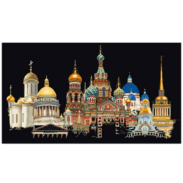 ★P5倍★刺繍 刺しゅう輸入キット Thea GOUVERNEUR St.Petersburg(ぺテルスブルグ)Black Aida 430 05