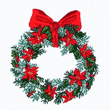 刺繍 刺しゅう 輸入キット O.O.E. Christmas Wreath ポインセチア 【メール便可】刺繍 キット