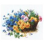 刺繍 輸入キット ALISA(アリサ) Flowers and birds Roses and Cornflowers