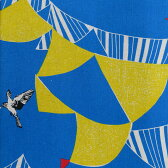 【PCエントリーでP10倍4/1(9:59)まで】echino エチノ FLAG 旗と鳥 綿麻プリント 日本製 古谷悦子デザイン (10cm単位) JG-96400-401 (ネコポス・ゆうパケット可)