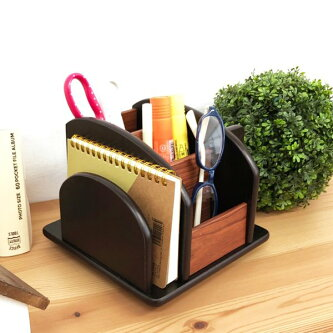 卓上収納ケースくるくるラックDXリモコンラック回転収納木製小物入れ回転卓上収納ケース文具多機能収納ボックス