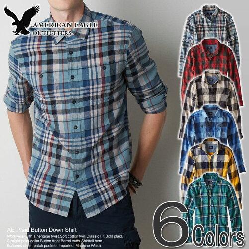 アメリカンイーグル メンズ フランネルシャツ AE Plaid Button Down Shirt (6色) S M L XL XXL あ...