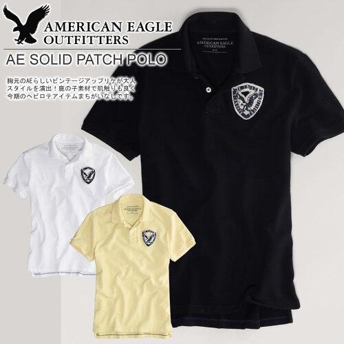 アメリカンイーグル メンズ 半袖 鹿の子ポロシャツ AE SOLID PATCH POLO (3色) (1513-7356) S M L ...
