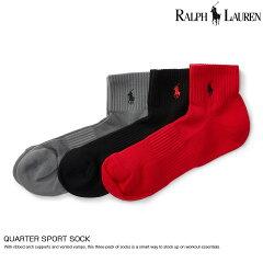 ポロ・ラルフローレンメンズソックス靴下QuarterSportSock3色セット(グレー、ブラック、レッド)(105244116)スーパーSALE開催!!最大ポイント16倍!あす楽10800円以上送料無料!メンズかっこいいギフトにも!大きいサイズあり!