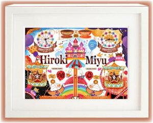 ご兄妹、双子ちゃんの出生の記録を1枚のイラストにおさめます!出産祝い、誕生記念品におすすめ...