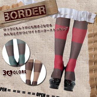 Borders wide Bader pantyhose 20 denier all tri-color (Burgundy/black) (turquoise/black) (Beige/black)