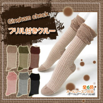 Xmas fair store products! Ruffle x gingham ★ crew socks! kalabari 6 colors!