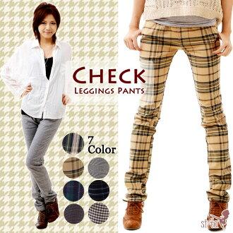 チェックレギンス pants レギパン pants Black Watch gingham Glen Tartan organiccotton houndstooth check check pockets with dates