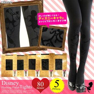 Disney tights ディズニーフロッキープリントタイツタトゥー tights Mickey Minnie Daisy tights Disney black flocking process